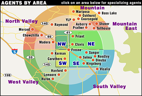 To find some of the top REALTORS in the Fresno Valley, click on one of the geographical areas below.